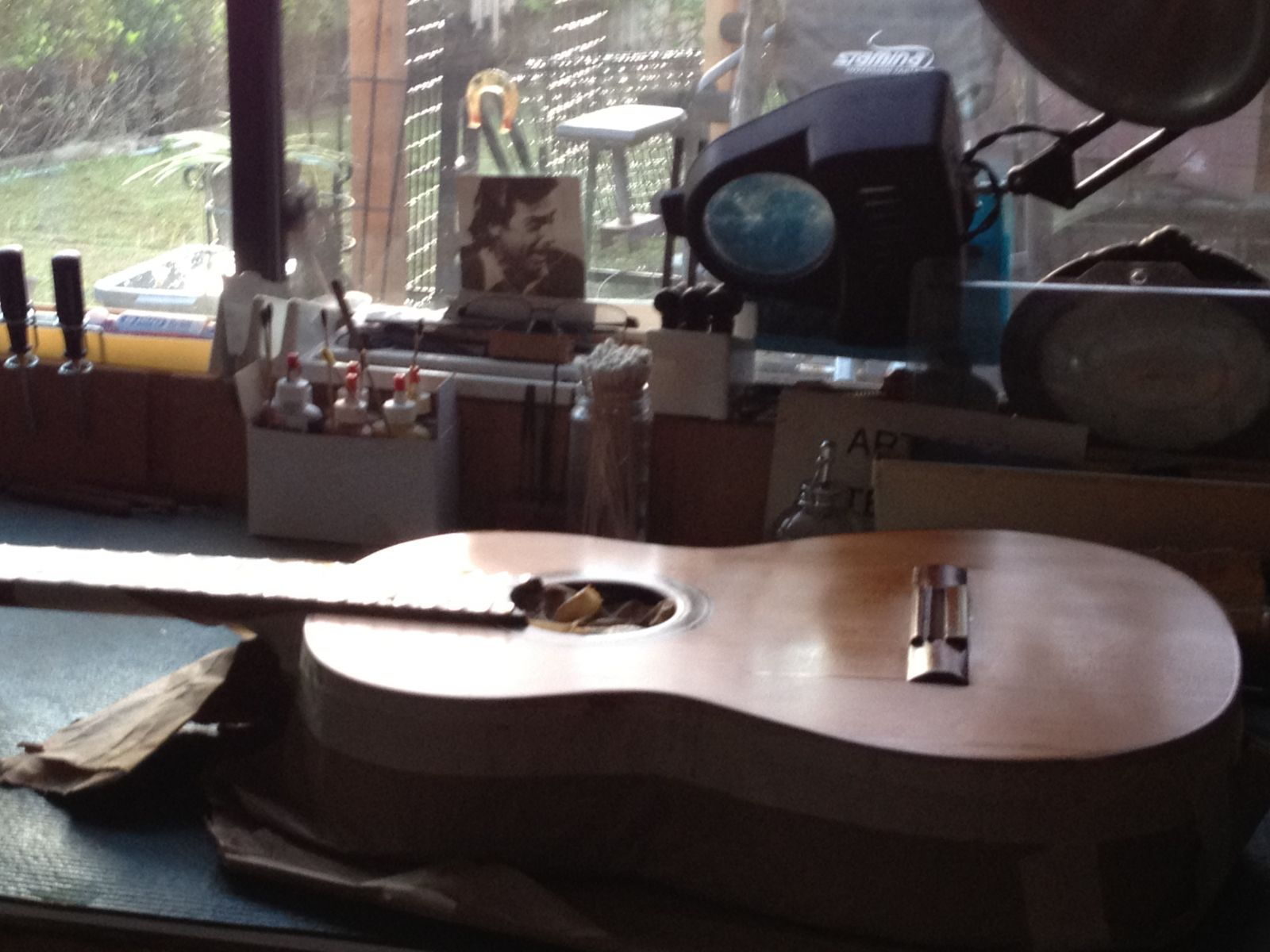 Freddie's guitar at dawn in his studio